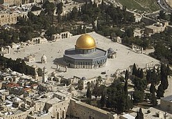 An aerial view of Jerusalem's Old City with the Dome of the Rock Mosque, in the Al Aqsa Mosque compound, also known to Jews as the Temple Mount, is seen on Monday, March 9, 2009. The site represents the heart of the Israeli-Palestinian conflict. It houses both the Al Aqsa Mosque and the gold-capped Dome of the Rock, Islam's third-holiest shrine, built over the ruins of both biblical Jewish temples. (AP Photo/Ariel Schalit)