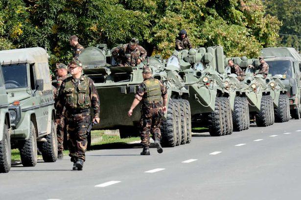 A-convoy-of-Hungarian-APCs